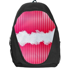Digitally Designed Pink Stripe Background With Flowers And White Copyspace Backpack Bag