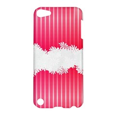 Digitally Designed Pink Stripe Background With Flowers And White Copyspace Apple Ipod Touch 5 Hardshell Case