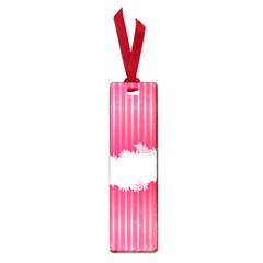 Digitally Designed Pink Stripe Background With Flowers And White Copyspace Small Book Marks by Nexatart