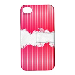 Digitally Designed Pink Stripe Background With Flowers And White Copyspace Apple Iphone 4/4s Hardshell Case With Stand