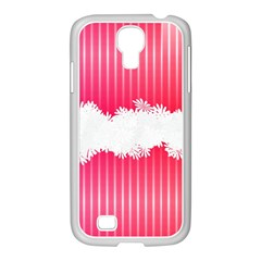 Digitally Designed Pink Stripe Background With Flowers And White Copyspace Samsung Galaxy S4 I9500/ I9505 Case (white)