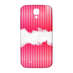 Digitally Designed Pink Stripe Background With Flowers And White Copyspace Samsung Galaxy S4 I9500/i9505  Hardshell Back Case by Nexatart
