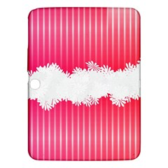 Digitally Designed Pink Stripe Background With Flowers And White Copyspace Samsung Galaxy Tab 3 (10 1 ) P5200 Hardshell Case