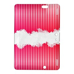 Digitally Designed Pink Stripe Background With Flowers And White Copyspace Kindle Fire Hdx 8 9  Hardshell Case by Nexatart