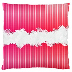 Digitally Designed Pink Stripe Background With Flowers And White Copyspace Large Flano Cushion Case (one Side) by Nexatart