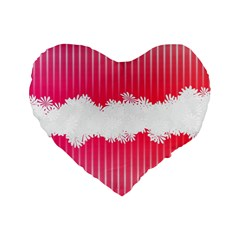 Digitally Designed Pink Stripe Background With Flowers And White Copyspace Standard 16  Premium Flano Heart Shape Cushions by Nexatart