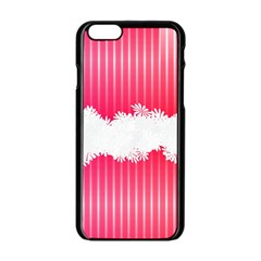 Digitally Designed Pink Stripe Background With Flowers And White Copyspace Apple Iphone 6/6s Black Enamel Case