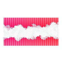 Digitally Designed Pink Stripe Background With Flowers And White Copyspace Satin Wrap