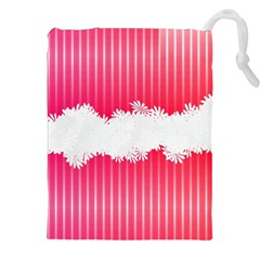 Digitally Designed Pink Stripe Background With Flowers And White Copyspace Drawstring Pouches (xxl) by Nexatart