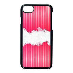 Digitally Designed Pink Stripe Background With Flowers And White Copyspace Apple iPhone 7 Seamless Case (Black)