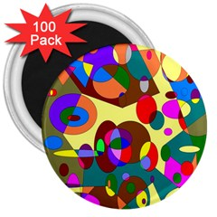 Abstract Digital Circle Computer Graphic 3  Magnets (100 Pack)