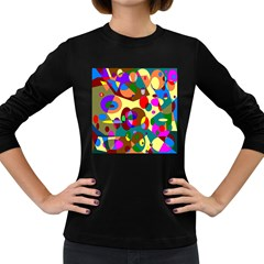 Abstract Digital Circle Computer Graphic Women s Long Sleeve Dark T-Shirts