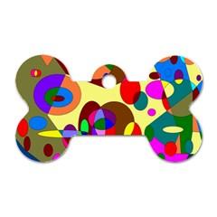 Abstract Digital Circle Computer Graphic Dog Tag Bone (two Sides) by Nexatart