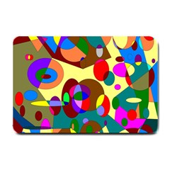 Abstract Digital Circle Computer Graphic Small Doormat  by Nexatart