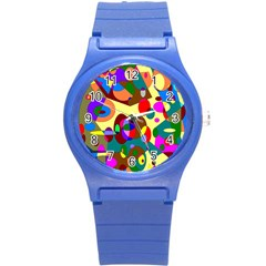 Abstract Digital Circle Computer Graphic Round Plastic Sport Watch (s) by Nexatart