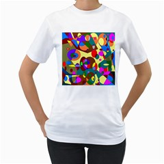 Abstract Digital Circle Computer Graphic Women s T Shirt (white)