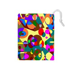 Abstract Digital Circle Computer Graphic Drawstring Pouches (medium)  by Nexatart