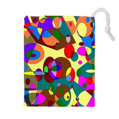 Abstract Digital Circle Computer Graphic Drawstring Pouches (extra Large) by Nexatart