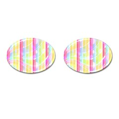 Abstract Stipes Colorful Background Circles And Waves Wallpaper Cufflinks (oval) by Nexatart