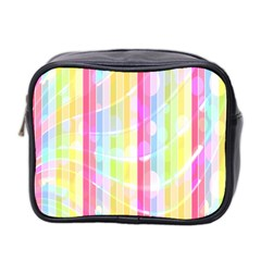 Abstract Stipes Colorful Background Circles And Waves Wallpaper Mini Toiletries Bag 2 Side