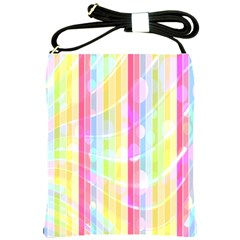 Abstract Stipes Colorful Background Circles And Waves Wallpaper Shoulder Sling Bags by Nexatart