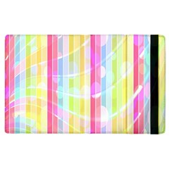 Abstract Stipes Colorful Background Circles And Waves Wallpaper Apple Ipad 2 Flip Case by Nexatart
