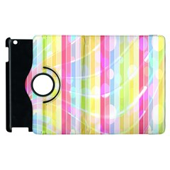 Abstract Stipes Colorful Background Circles And Waves Wallpaper Apple Ipad 3/4 Flip 360 Case by Nexatart