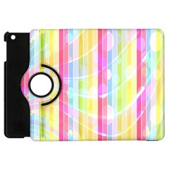Abstract Stipes Colorful Background Circles And Waves Wallpaper Apple Ipad Mini Flip 360 Case
