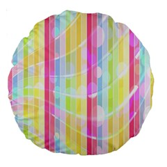 Abstract Stipes Colorful Background Circles And Waves Wallpaper Large 18  Premium Round Cushions