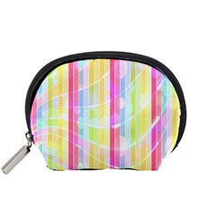 Abstract Stipes Colorful Background Circles And Waves Wallpaper Accessory Pouches (small)