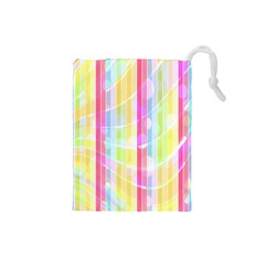 Abstract Stipes Colorful Background Circles And Waves Wallpaper Drawstring Pouches (small)
