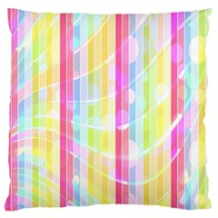 Abstract Stipes Colorful Background Circles And Waves Wallpaper Large Flano Cushion Case (two Sides)