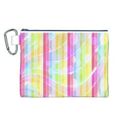 Abstract Stipes Colorful Background Circles And Waves Wallpaper Canvas Cosmetic Bag (l) by Nexatart
