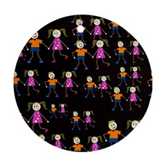 Kids Tile A Fun Cartoon Happy Kids Tiling Pattern Ornament (round)