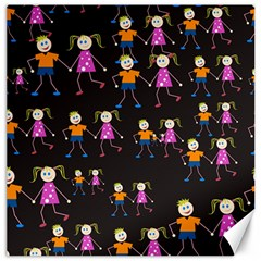 Kids Tile A Fun Cartoon Happy Kids Tiling Pattern Canvas 16  X 16   by Nexatart
