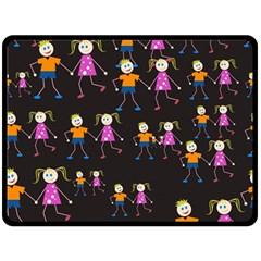 Kids Tile A Fun Cartoon Happy Kids Tiling Pattern Fleece Blanket (large)  by Nexatart