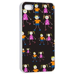 Kids Tile A Fun Cartoon Happy Kids Tiling Pattern Apple Iphone 4/4s Seamless Case (white)