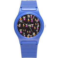 Kids Tile A Fun Cartoon Happy Kids Tiling Pattern Round Plastic Sport Watch (s) by Nexatart
