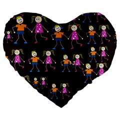 Kids Tile A Fun Cartoon Happy Kids Tiling Pattern Large 19  Premium Heart Shape Cushions by Nexatart