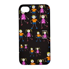 Kids Tile A Fun Cartoon Happy Kids Tiling Pattern Apple Iphone 4/4s Hardshell Case With Stand