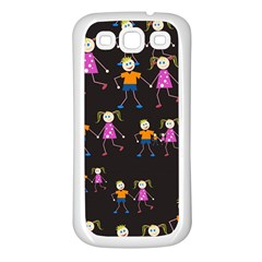 Kids Tile A Fun Cartoon Happy Kids Tiling Pattern Samsung Galaxy S3 Back Case (white) by Nexatart