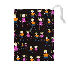 Kids Tile A Fun Cartoon Happy Kids Tiling Pattern Drawstring Pouches (extra Large) by Nexatart