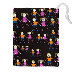 Kids Tile A Fun Cartoon Happy Kids Tiling Pattern Drawstring Pouches (xxl) by Nexatart