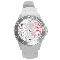 Fluorescent Flames Background With Special Light Effects Round Plastic Sport Watch (l) by Nexatart