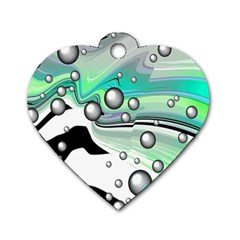 Small And Big Bubbles Dog Tag Heart (two Sides)