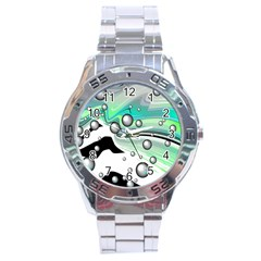 Small And Big Bubbles Stainless Steel Analogue Watch by Nexatart