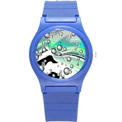 Small And Big Bubbles Round Plastic Sport Watch (s) by Nexatart