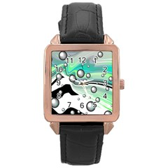 Small And Big Bubbles Rose Gold Leather Watch
