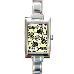 Completely Seamless Tileable Doodle Flower Art Rectangle Italian Charm Watch