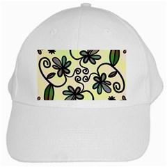 Completely Seamless Tileable Doodle Flower Art White Cap by Nexatart